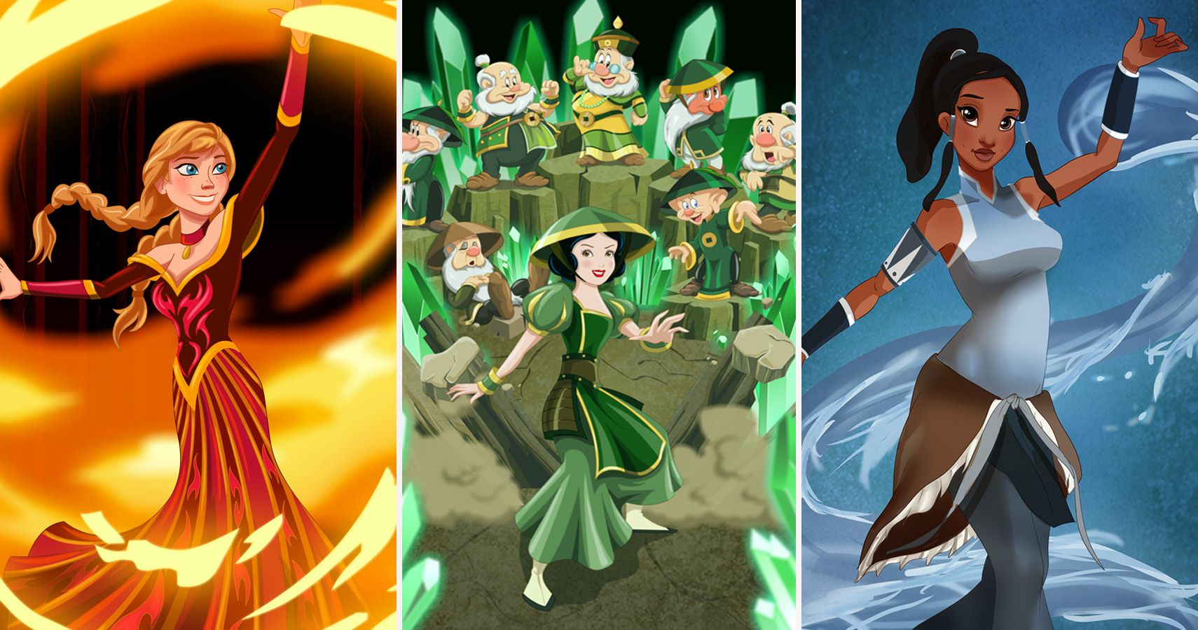 20 Disney Heroes Reimagined As Avatar The Last Airbender Characters
