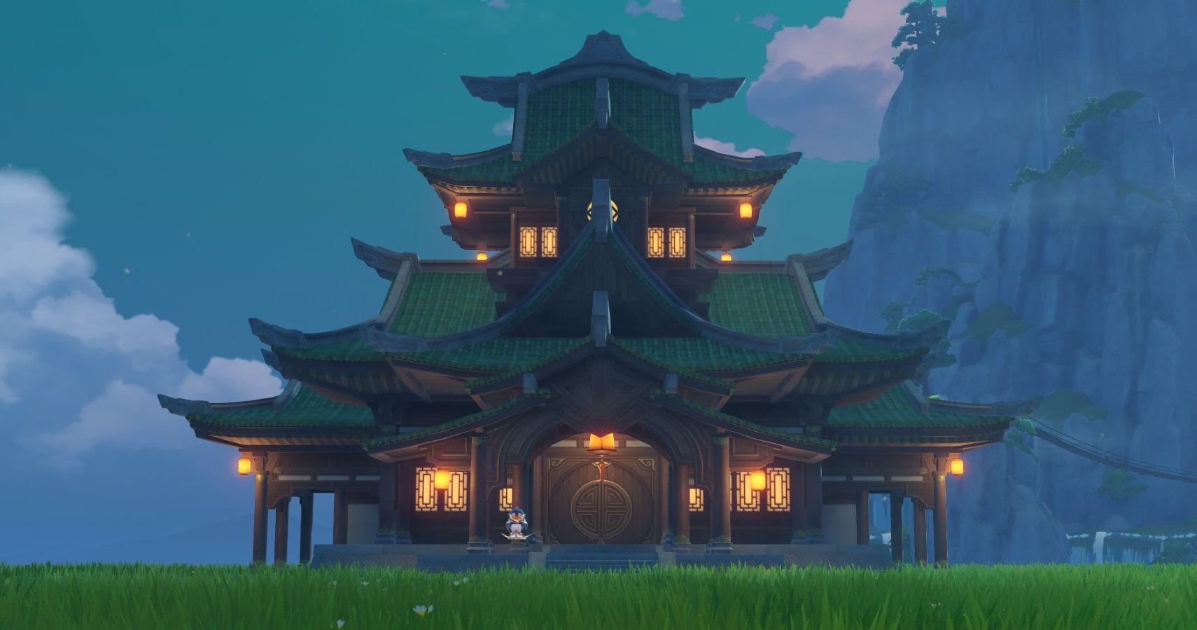 Extérieur du manoir à impact Genshin à l'intérieur du royaume